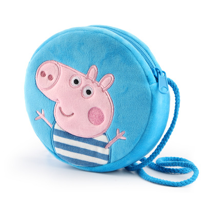 小豬佩奇圓形零錢包 卡通毛絨玩具小包斜跨包 女孩可愛兒童玩具配飾3-6歲 藍色喬治