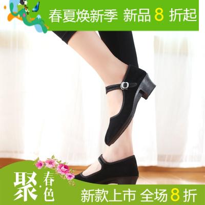 舞蹈练功鞋女成人民族舞蹈考试考级绒跟鞋秧歌舞蹈鞋民间舞鞋布鞋