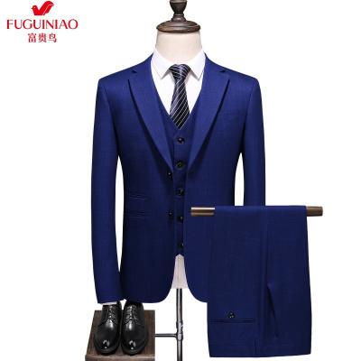 富貴鳥(FGN)男士西服套裝男春季2020新款加肥大碼休閑小西裝男外套韓版潮流修身三件套