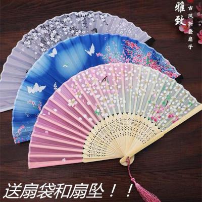 古風扇子折扇中國風古典折扇日式櫻花小扇子動漫女式兒童舞蹈扇夏