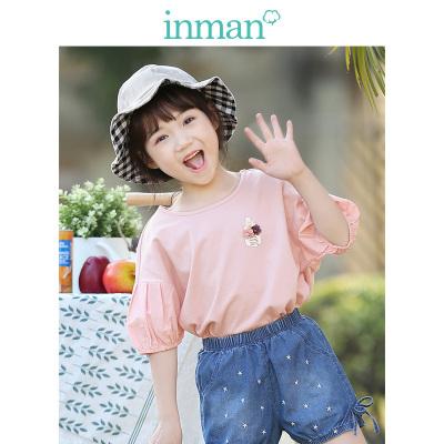 茵曼INMAN童装女童纯棉T恤中袖2019新款夏装儿童圆领短款宽松休闲上衣
