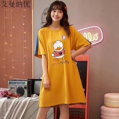 艾曼納優(AIMANRNIU)睡裙女純棉薄款夏季短袖寬松圓領套頭T恤裙中長款休閑睡衣連衣裙