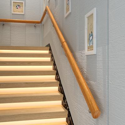 靠墻木樓梯扶手實木歐式家用幼兒園老人室內別墅閣樓防滑扶手簡約 600CM分3節(6個固定點)