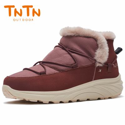 TNTN戶外冬季保暖防水厚底俄羅斯東北羊毛加絨女士鞋雪鄉地棉靴子(摩卡棕)