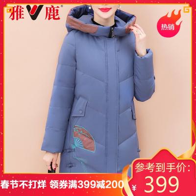 yaloo/雅鹿中老年妈妈羽绒服女中长款冬季中年女装加厚保暖外套BS