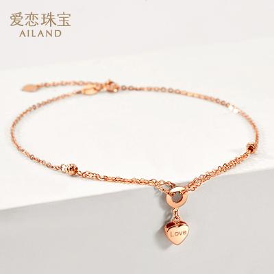 愛戀珠寶18K金腳鏈 心悅 18k金au750腳鏈玫瑰金腳飾 時尚彩金新款
