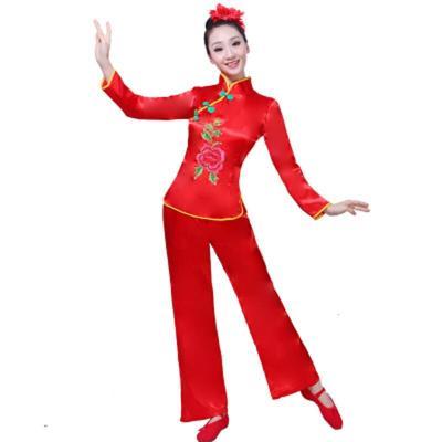 秧歌服女中老年廣場舞扇子舞表演服中國風喜慶舞蹈服成人套裝