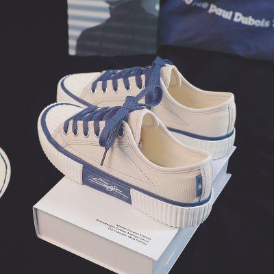 藍色餅干鞋女帆布鞋女學生韓版百搭板鞋低幫鞋子女秋季ins小白鞋 臻依緣