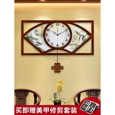 中式挂钟客厅钟表复古静音挂表创意大中国风时钟墙壁家用石英钟表