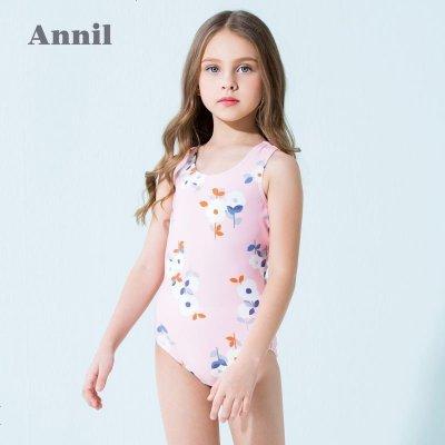 安奈兒童裝女童連體泳衣套裝夏季新款女寶寶游泳衣中大童泳衣