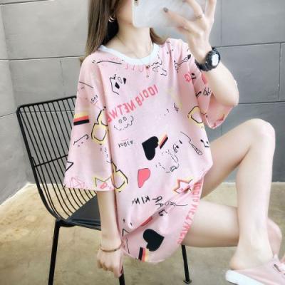 依魅人潮牌寬松短袖t恤女中長款2020年夏季新款韓版半袖簡約上衣女