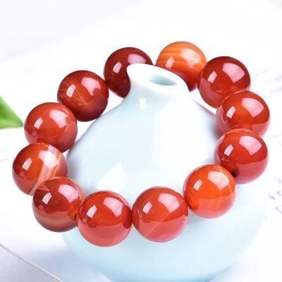 天然瑪瑙手串 男手鏈本命年紅瑪瑙纏絲大珠子蠶絲花紋送男生禮物