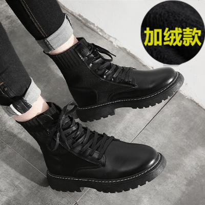 马丁靴男潮中帮工装靴子高帮英伦风男鞋冬季百搭加绒保暖黑色皮靴