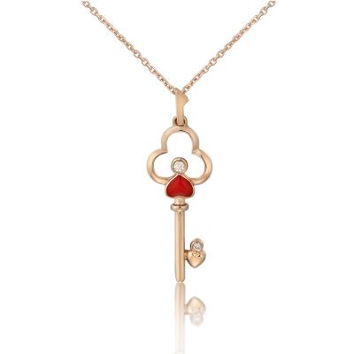 銀星珠寶 18k金鉆石鏈墜 幸運鑰匙 31周年限定款
