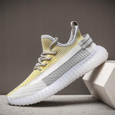 策恩公牛2020夏季新款椰子鞋男透氣網面飛織運動鞋350V2潮流果凍底跑步鞋