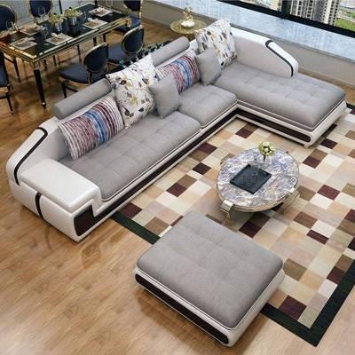 HOTBEE布艺沙发简约现代客厅大小户L型套装皮布艺2.6/3.3/3.6米整装组合