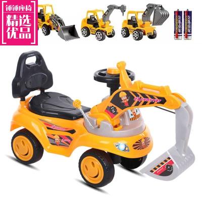 大号儿童挖掘机可骑可坐带音乐滑行车挖土机扭扭车人玩具车工程车冬夏两用