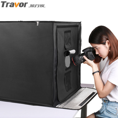 旅行家LED攝影棚60cm 小型攝影棚柔光箱攝影道具 電商拍照補光燈靜物拍攝