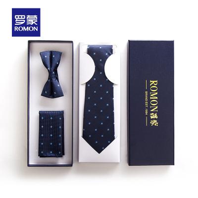Romon/罗蒙商务正装领带男职业结婚礼服领结西装配饰三件套礼盒装