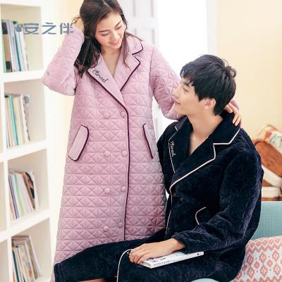 安之伴特卖睡袍情侣睡衣女冬季珊瑚绒三层保暖加厚简约宽松家居服袍装