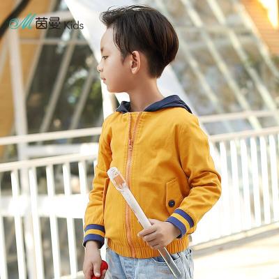 茵曼INMAN2018春秋装新品潮童装男童洋气撞色连帽夹克拉链韩版外套