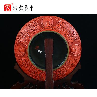 中藝盛嘉 楊之新雕漆中式古典家居擺件童子賀壽圖孤品中藝堂收藏品開業送禮