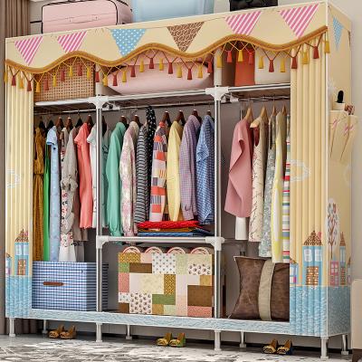艾格调简易衣柜钢管加粗加固布衣柜布艺简约现代经济型组装衣橱收纳柜子布衣柜2567