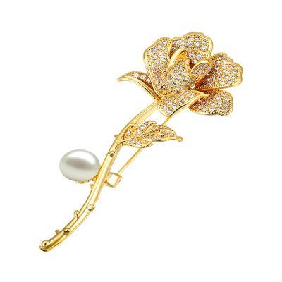 古莉(COULISSE)浪漫玫瑰花珍珠女士氣質奢華款大衣西裝別針飾品P0182