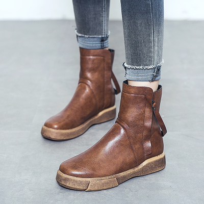 Lordel女鞋短靴女新款秋冬女靴子加绒马丁靴英伦平底学生休闲棉皮鞋季