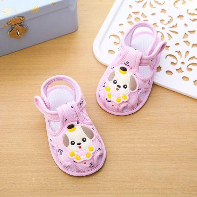 夏季0-1歲男女寶寶學步鞋軟底防滑包頭新生嬰兒涼鞋布前鞋 臻依緣