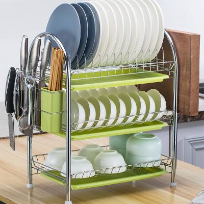 雙層碗架瀝水架家用晾洗放碗碟盤筷子收納架廚房置物架多層蔬菜籃 【加厚】三層+筷筒+砧板架+3綠盤配刀架和4個掛鉤