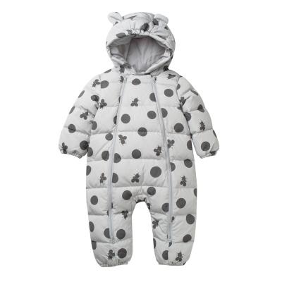 迷你巴拉巴拉嬰兒羽絨連體衣男女寶寶加厚連帽連身衣新年冬裝爬服
