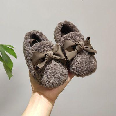女宝宝棉鞋婴儿保暖冬款儿童毛毛鞋公主鞋冬鞋加绒羊羔女童豆豆鞋