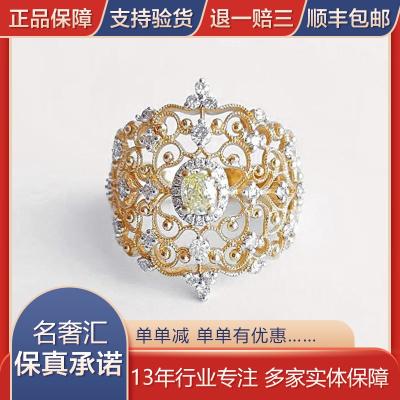 【正品二手99新】18K黄金雕花镶钻欧式宫廷风黄钻戒指