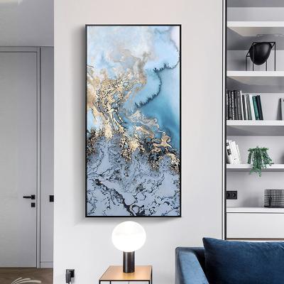 舒廳 玄關裝飾畫現代輕奢晶瓷畫金色琉璃抽象山水掛畫客廳沙發背景壁畫美 極光B款(拉絲黑色)鋁合金外框高140*寬70cm
