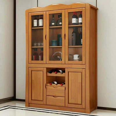 塞納左居(Sena Zuoju) 酒柜 現代中式客廳三門餐邊柜 多功能靠墻實木酒柜 木質酒柜家具 宜家辦公室茶水柜