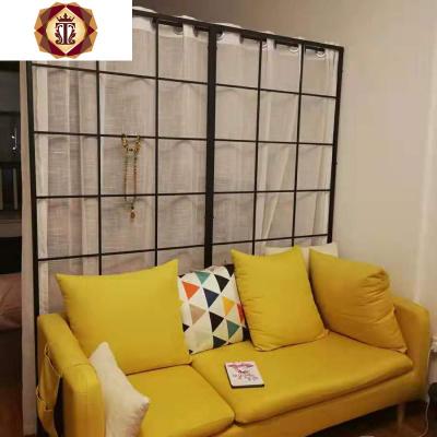 北歐鐵藝房間客廳隔斷墻屏風玄關裝飾簡約臥室分隔家用鏤空帶腳