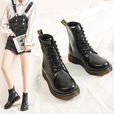 熱風京奢(REFENGJINGSHE) 馬丁靴女士靴子工裝靴短靴百搭橡膠軟底舒適春秋單靴
