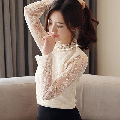 无畏衣衣2020新款女春装韩版时尚女士蕾丝衫打底衫洋气长袖雪纺衫女上衣