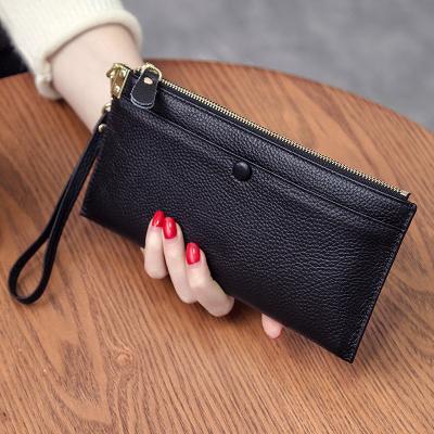 歌洛茲德小手包錢包真薄款2019新款手拿包女士卡包頭層牛皮長款拉鏈手機包女包零錢包錢夾