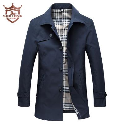 司奇隆(siqilong)新款男士風衣中長款修身外套風衣男純色翻領春秋薄款