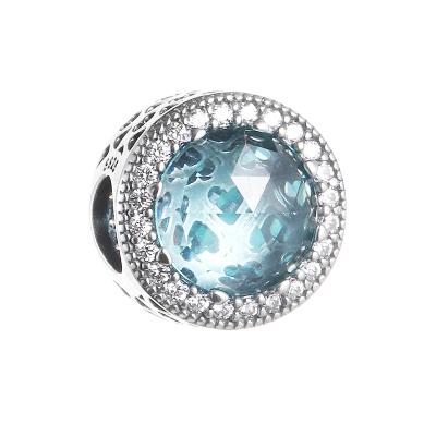 PANDORA潘多拉 925銀串飾冰河藍閃耀之心 791725NGL