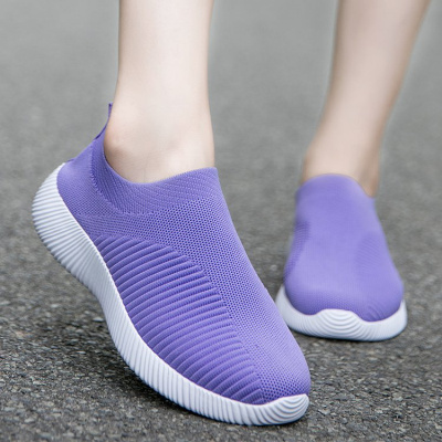 希度2020新款女平底飞织透气运动休闲鞋套脚轻便弹力袜子鞋一脚蹬跑步鞋