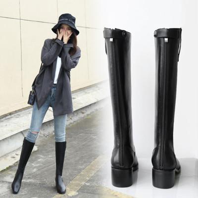 森达利新款女鞋1990&v15-1及膝长筒靴女平底鞋低跟英伦骑士靴方头高筒靴子女鞋头层牛皮女靴