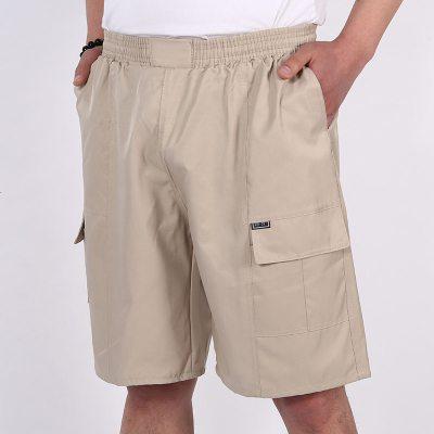 夏季中年短褲子男爸爸裝大碼中年男士棉褲沙灘五分褲老人休閑中褲