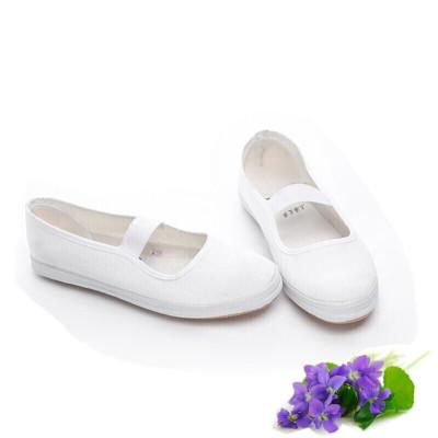 白色體鞋女運動帆布鞋松緊帶軟底兒童舞蹈鞋學生小白鞋八月七