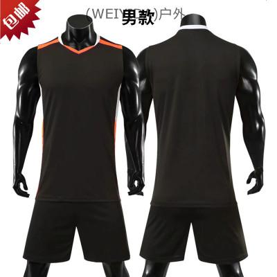 (WA)隊服服短袖男女透氣服比賽套裝衣排球無袖款定制學生印號排球訓練