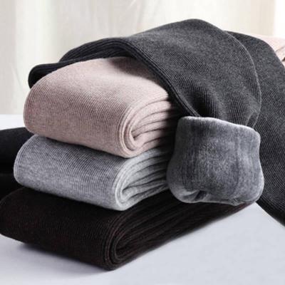 棉褲冬季加絨加厚打底褲女外穿顯瘦豎條螺紋保暖褲連襪 臻依緣