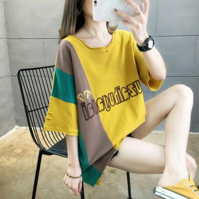 企妍T恤女2020夏裝新款韓版潮字母刺繡中長款大碼女裝胖MM T恤上衣