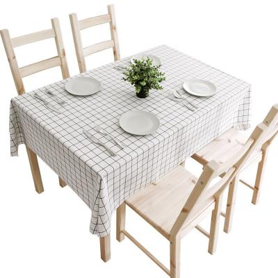 北極絨 北歐簡約格子防水防油桌墊免洗餐耐臟污桌布茶幾墊臺布